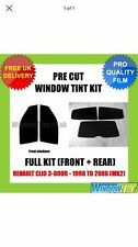 Renault Clio Window Tint PreCut Set Mk2 1998-2006, Full Set Front and Back