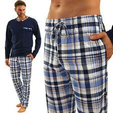 Herren Schlafanzug Sesto Pyjama 100% Baumwolle Langarm + Pyjamahose Nachtanzug