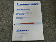 Geringhoff MS400 MS500 MS600 MS800 MS900 MS1200B Corn Head Parts Catalog Manual