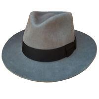 Grey Fedora Hat Gangster Mobster  Classic Gray Men's Wool Felt Godfather Hats