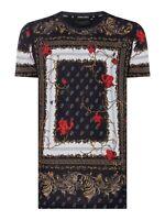 CRIMINAL DAMAGE AVI Baroque Print T-Shirt Black/ Gold