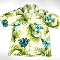 Tommy Bahama Men's 100% Silk Camp Shirt Palm Tree Floral Hawaiian • Medium