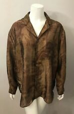 Chico's Design Brown Crinkle Satin Print Blouse Shirt Size 2 (US 12)