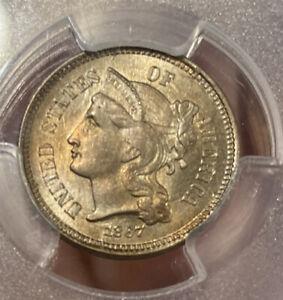 1867 3 Cent Nickel PCGS MS64