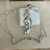 925 Sterling silver  San Judas Pendant  20;Long Necklace mens womens