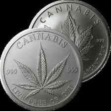 1 OZ SILVER COIN DOUBLE CANNABIS POT COIN LIVE FREE OR DIE .999 FINE SILVER RARE
