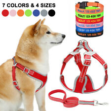 Dog Harness Leash Reflcetive Mesh Pets Vest Personalized Embroidered Collar XS-L