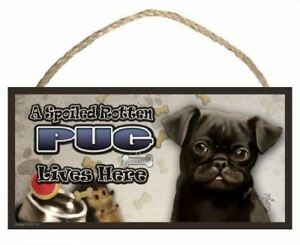 A Spoiled Rotten Pug (black) Lives Here Dog Sign / Plaque featuring the art of S