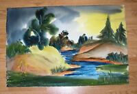 VINTAGE LONG ISLAND NEW YORK STREAM RIVER TREES LANDSCAPE LISTED ARTIST PAINTING