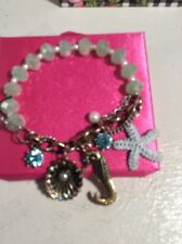 Betsey Johnson Brass Tone Sea Life Charm Stretch Bracelet $35 in Box