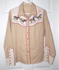 WOMEN'S SCULLY WESTERN WEAR SNAP FRONT SHIRT EMBROIDERED HORSES SZ M