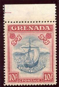 Grenada 1938 KGVI 10s steel blue & bright carmine superb MNH. SG 163a. CW 23.