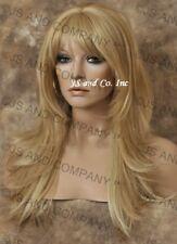 HEAT SAFE HUMAN Hair Blend wig Long Straight Blonde mix WBMS 24-613