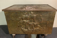 Antique Repousse Embossed Brass Clad Coal Box Sailing Ship Motif With Wheels