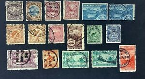 NEW ZEALAND 1898-03 MIXED PERFS SET TO 5/- MT. COOK. SG246-70. WITH EXTRAS.