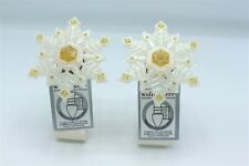 Bath & Body Works Gold White Snowflake Pearl Wallflower Diffuser Plug Holiday x2