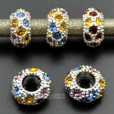Big Hole Silver Rhinestone Crystal Pave Rondelle Spacer Beads For European Charm