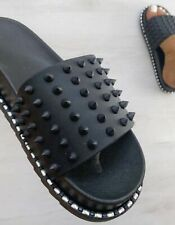 WOMENS STUDDED COMFORT FLAT SLIDERS LADIES STUDS SANDALS BEACH SHOES HOLIDAY SZ