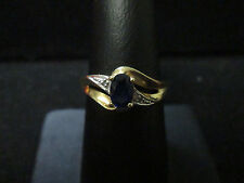 VINTAGE 10K YELLOW GOLD SAPPHIRE RING SIZE 6.75