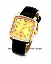 Omax Ladies Diamonte Gold Dial Watch, Gold Finish, Seiko Movt. RRP £49.99