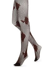 Hue Nylon Tights Sz S / M Brick Red Floral Net Tights Nylon Style # U13023