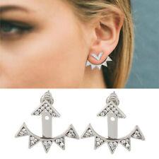 Triangle Stud Earrings Crystal Geometric Silver Color Vintage Earrings For Women
