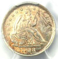 1838 Seated Liberty Half Dime H10C (Large Stars) - PCGS Uncirculated (UNC MS)!