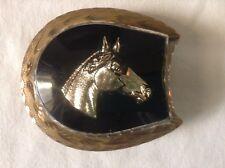 Head Belt Buckle Wil-Aren Cabochon Gold Horse