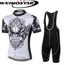 Cráneo Blanco Ciclismo Jersey Hombres Ropa Camiseta Bicicleta Conjunto Pantalón