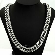 "34"" 18K Men's White Gold Chain No Stone Silver Necklace Birthday Gift Husband BF"
