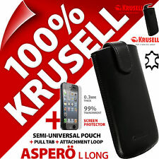 Krusell Aspero L Long Authentique Cuir Housse + iPhone 5 / 5S / SE Protège Écran