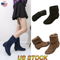 US Women's Fashion Ankle Boots Wedge Heel Round Toe Clubwear Casual Suede Boots