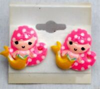 MERMAID PINK Stud Post Earrings Jewelry Set - Handmade USA