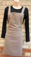 SELECT BEIGE BLACK HALF BUTTONED PINAFORE BODYCON DUNGAREES TEA DRESS 12 M
