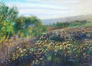 "Rick Stoner ""October Evening"" Hand Signed Original Pastel Drawing landscape Art"