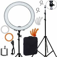 """18"""" Diva LED Dimmable Photo Video Continuous Ring Light Kit Stand Carry Bag"""