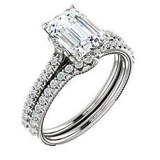 Stunning 2.18 ct Emerald Cut Diamond Engagement U-Pave Bridal Set Gia H, Vs1