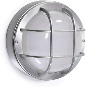 "CORAMDEO Outdoor 8"" Round LED Bulkhead Light, Nickel Aluminum Frost Glass Lens"