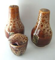 VINTAGE FOSTERS POTTERY CORNWALL~ BROWN HONEYCOMB CRUET SET SALT PEPPER MUSTARD