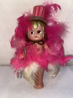 Vtg 1920's Celluloid KEWPIE Flapper Pink Feathers Top Hat Cane Dancer Doll
