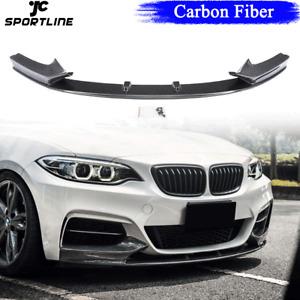 Carbon Fiber Front Bumper Lip Spoiler for BMW 2Series F22 M235I M-Sport 2014-17