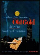 1949 OLD GOLD Cigarettes - Midnight- Moon- City- Lite Cigarette- VINTAGE AD