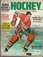 January 1963 Issue Of Hockey Illustrated Signed By Jean Beliveau Psa/Dna Cert.