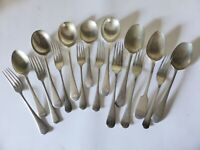 Antique Silver Plated Flatware 16 Piece Mixed Rustic EPNS Spoons, Forks, Cutlery