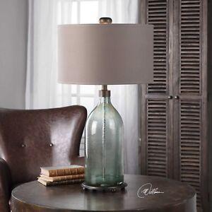 MASSANA SMOKE GRAY GLASS TABLE LAMP AGED BRUSHED BRASS METAL UTTERMOST 27197
