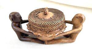 Vintage Hand Carved Wood & Woven Wicker Basket - Native/Tribal