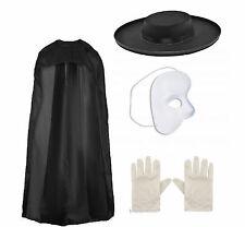 Adulti fantasma dell' Opéra Fancy Dress 4 PC Costume-Mantello Maschera Guanti + CAPPELLO