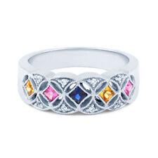 Heating Sapphire Round White Gold Fine Gemstone Rings