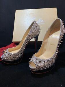 -: :- CHRISTIAN LOUBOUTIN Very Mix Lady Peep Silver Potpourri Strass Heels 40.5
