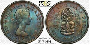 1965 NEW ZEALAND HALF PENNY BU PCGS MS62BN COLOR TONED ONLY 2 GRADED HIGHER
